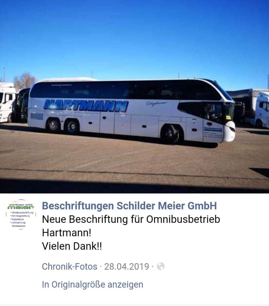 reisebus nach beschriftung Schilder Meier GmbH